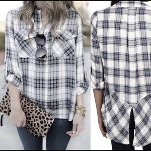 [Sam Edelman] Large Plaid Button Down Shirt